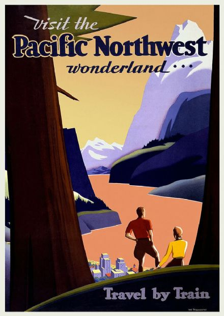 Visit the Pacific Northwest Wonderland... Vintage Travel/Tourism Print.  (002720)